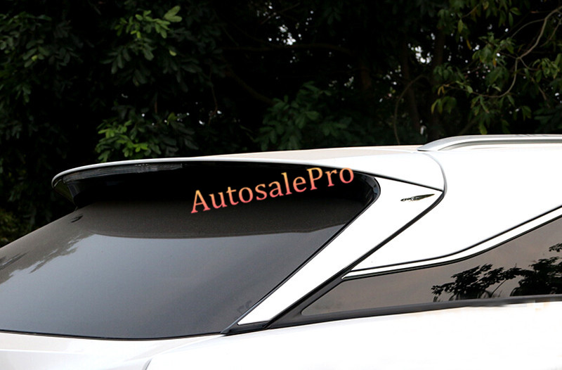 For LEXUS RX200t RX450h 2016 Stainless Steel Rear Spoiler Window Upper Triangle Sill Cover Trims Chrome new arrival for lexus rx200t rx450h 2016 2pcs stainless steel chrome rear window sill decorative trims