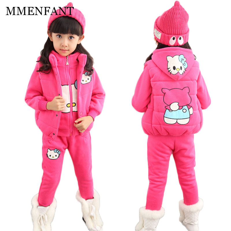 Girls clothes 2017 Autumn And Winter cute hello kitty sports suit children clothes girls sets 3pc vest+Hooded sweater+pants suit autumn and winter wear new suit children sweater hooded culottes two piece suit for girls