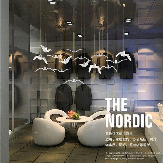 Modern Dining Room Led Seagull Chandelier Art White Light Living Villa Hall Coffee Suspension
