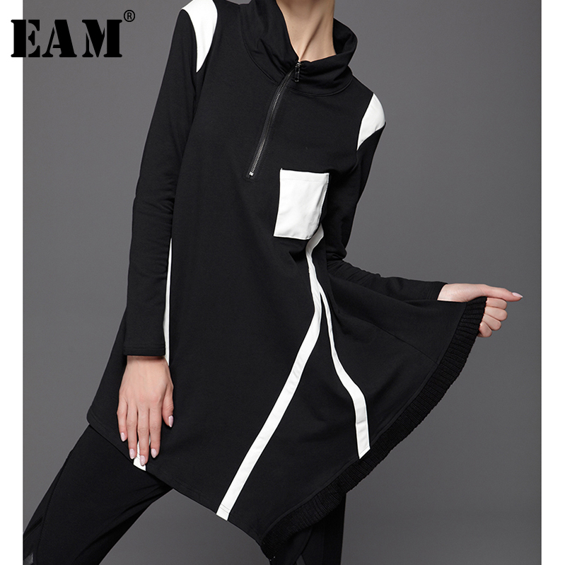 [EAM] 2019 New Spring Solid Color Stand Collar Long Sleeve Irregular Split Joint Loose Sweatshirt Women Fashion TideJC68100M