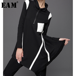 [EAM] 2020 New Spring Solid Color Stand Collar Long Sleeve Irregular Split Joint Loose Sweatshirt Women Fashion Tide JC68100M