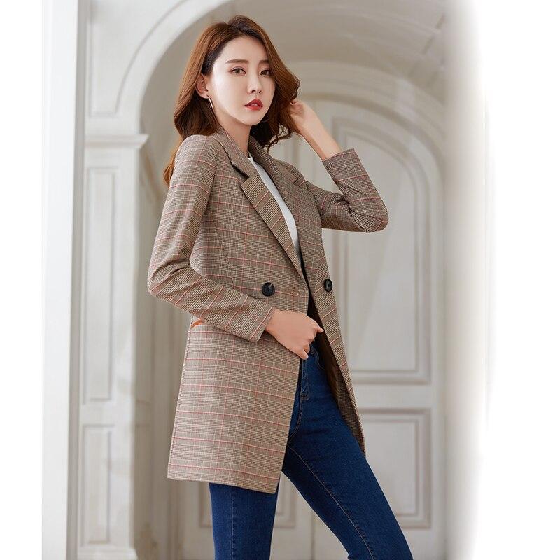 Fashion women's plaid suit jacket female Korean version autumn and winter wear new casual plaid ladies suit long section Slim