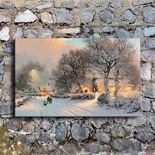 Lienzo de pintura de pared 1 pieza cómoda Vintage invierno Villa nieve escena fotos para sala de estar impresiones póster decoración del hogar