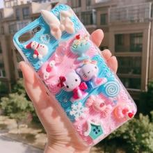 Per iphone 11 XS Max FAI DA TE caso 3D del gatto del fumetto della copertura del telefono per iphone 8 7 6 6s plus XR fatti a mano crema della caramella caso le donne del regalo della ragazza