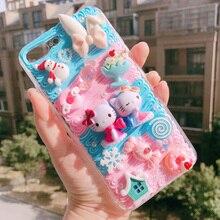Pour iphone 11 XS Max bricolage étui 3D dessin animé chat couverture de téléphone pour iphone 8 7 6 6s plus XR à la main crème bonbons femmes étui fille cadeau