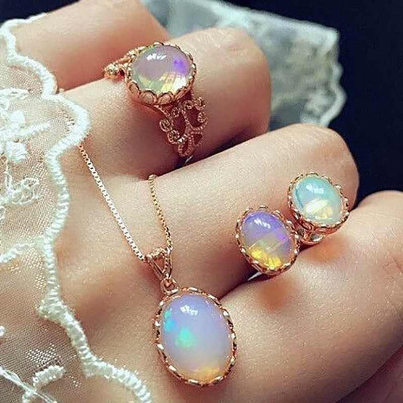 Conjuntos de jóias de opala do vintage para a mulher pingente colares gargantilha água brincos & anel cor ouro boemia casamento jóias presentes