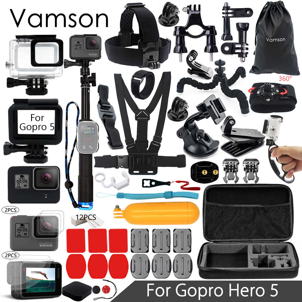 Vamson for Gopro Hero 6 5 Accessories Kit Super Set Waterproof Housing case 3 way monopod for Go pro hero 6 5 Vamson VS09 vamson for gopro accessories kit for gopro hero 6 5 hero 4 hero3 for xiaomi for yi sjcam sj4000 vs88