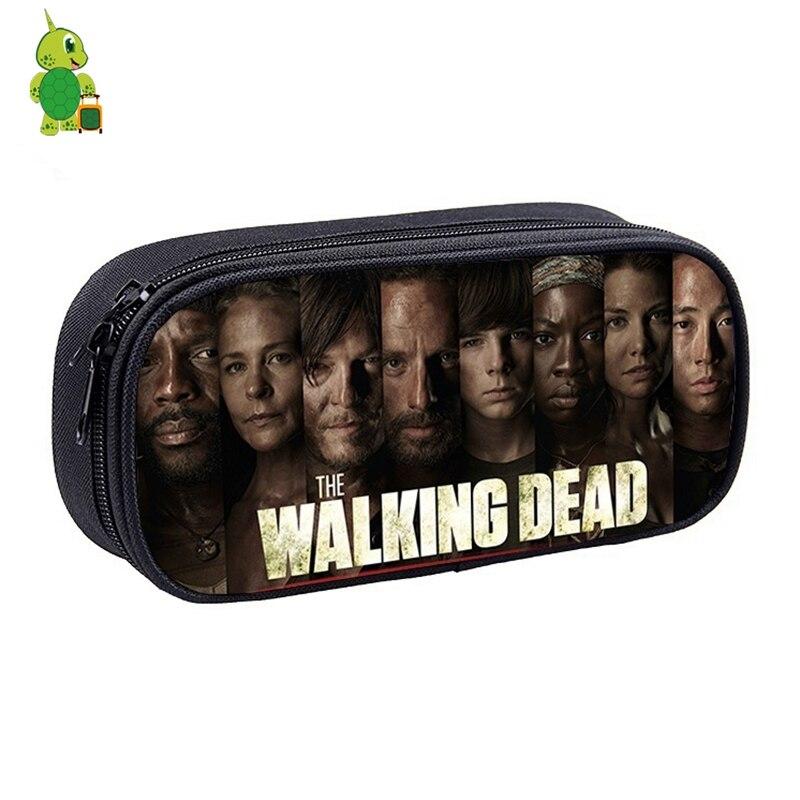 The Walking Dead Rick Cosmetic Cases Zipper Stationery Bag Pencil Case Boys Girls Kids School Supplies Makeup Purse Bag