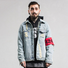 Four Two Four Men Denim Jackets 2017 Spring Fray Hole Fashion Brand Clothing High Street 424 Zipper Man Jean Coats Streetwear