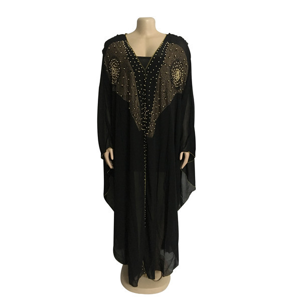 African Dresses For Women Beading Robes Long Maxi Dresses Fashion Plus Size Chiffon Dress Hooded Black Abaya Batwing Vestidos 4