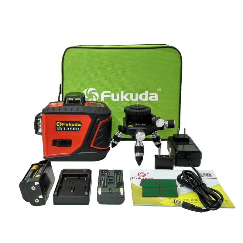 Fukuda 12 Lignes 3D MW-93T auto-Nivellement 360 Horizontal Et Vertical Croix Super Puissant Rouge Vert Laser niveau Faisceau ligne