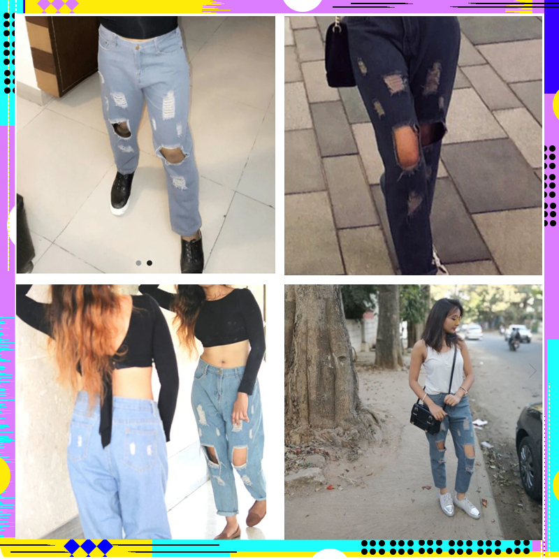 ROMWE Blue Ripped Distressed Boyfriend Ankle Denim Jeans Women Casual Summer Autumn Plain Straight Leg Pants Spring Trousers 5