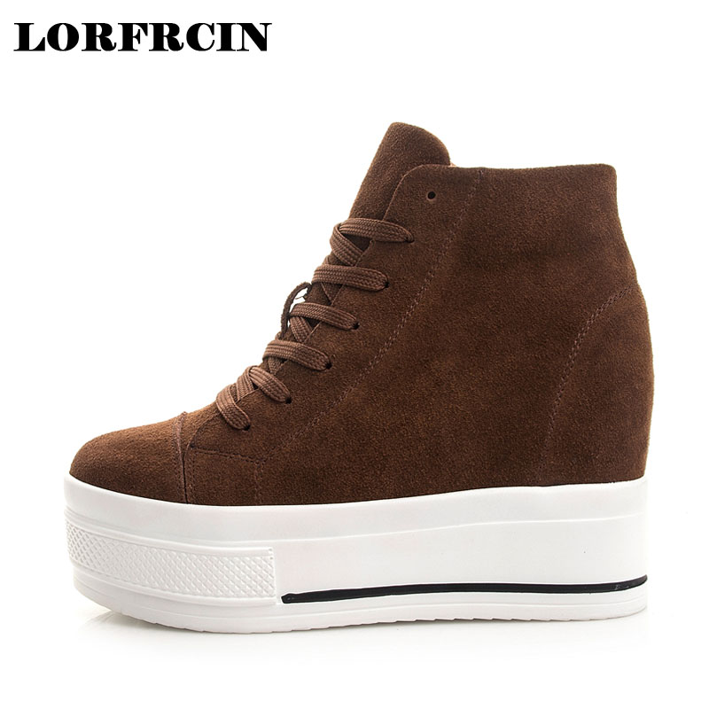 LORFRCIN Women High Heels Autumn Wedge Shoes Woman Genuine Leather Women Height Increasing Platform Shoes High Top Lace-up Pumps nayiduyun women genuine leather wedge high heel pumps platform creepers round toe slip on casual shoes boots wedge sneakers