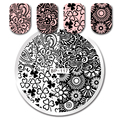 1Pc BORN PRETTY Floral Design Nail Stamping Template Manicure Round 5.5cm Nail Art Image Plate Stencil Nails Tool BP-117