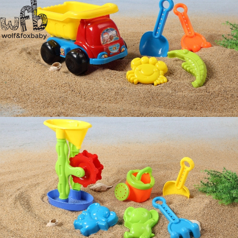 6pcs/set 25*15*16cm 2 Patterns Cute Kids Beach Plastic Toys Children Toy Set Dune Sand Beach Toys Bucket Spade Mold Tools Summer Choice Materials Toys & Hobbies Classic Toys
