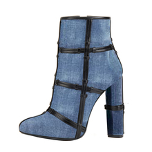 Fashion Hot Sale Jeans Shoes Sexy Ankle Boots Women Shoes 2018 Square High Heel Round Toe Denim Thigh Boots Shoes Woman TL-A0166 цена в Москве и Питере