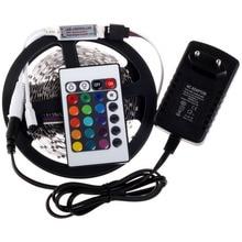 3528 RGB LED los 300 Leds / 5 M SMD + 24 Key IR Remote Controller + 12 V 2A adaptador de corriente Flexible de luz LED envío gratis