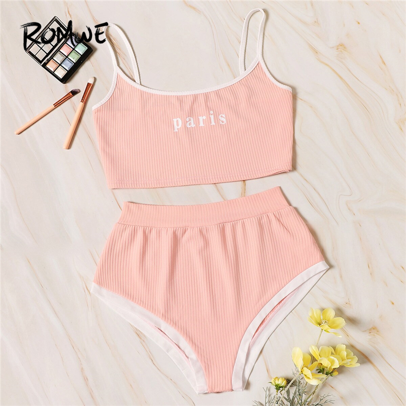 ROMWE Pink Letter Print Rib Briefs Lingerie Set Without Chest Pad Women Summer Wire Free Cute Intimates Two Pieces Suits