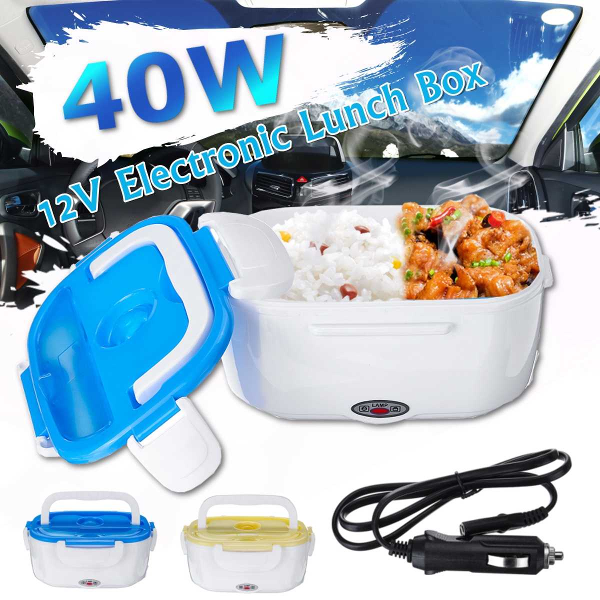 AUGIENB Portable Lunch Box Food Container Electric Heating Food Warmer Heater Rice Container Dinnerware Sets 12 V/40W