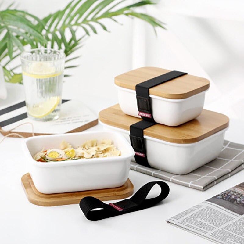 Ceramic Bento Box: Baispo Bamboo Cover Lunch Box Japanese Style Ceramic