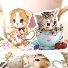 Cartoon kawaii teacup cat stickers DIY scrapbooking journal album happy planner crafts decorative stickers