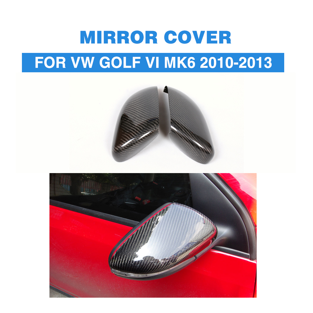 Carbon Fiber Car rear side Mirror Covers trim For Volkswagon VW Golf VI MK6 2010-2013 Add On Style high quality golf 6 mk6 carbon fiber full replacement car review mirror cover caps for vw golf6 mk6