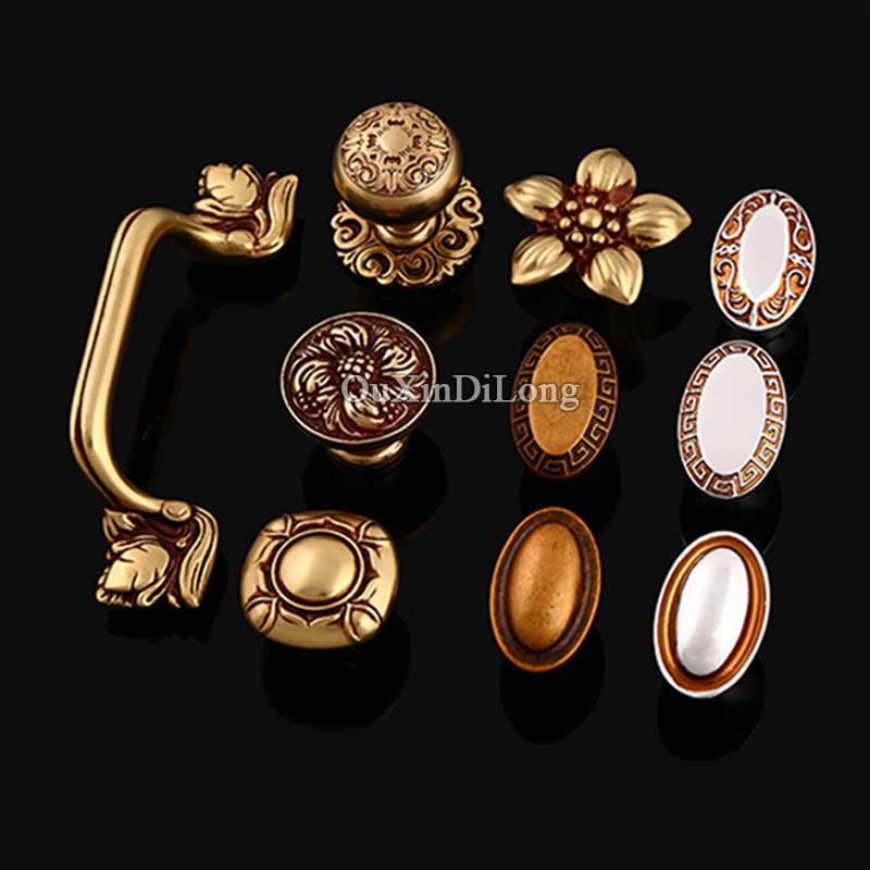 Hotsale 10PCS European American Brass Kitchen Door Furniture Handle Cupboard Drawer Wardrobe Wine Cabinet Pulls Handles & Knobs l door handle furniture handles black drawer kitchen cabinet door handle grips hole pitch handle pulls