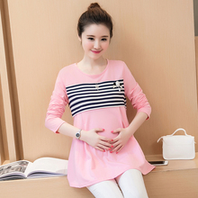 Long Sleeve Maternity Nursing Tops Pregnancy Breastfeeding Tees Shirt Clothes for Pregnant Women Wear Feedding Clothing B101