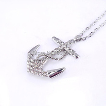 Cheap Wholesale Factory Price Silver color Or Gold Color Crystal Rhinestone Anchor Necklace