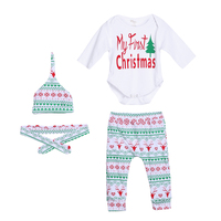 4pcs Baby Christmas Outfit Cotton Boy Girl Long Sheeve Romper Pants Leggings Hat Clothes Set New