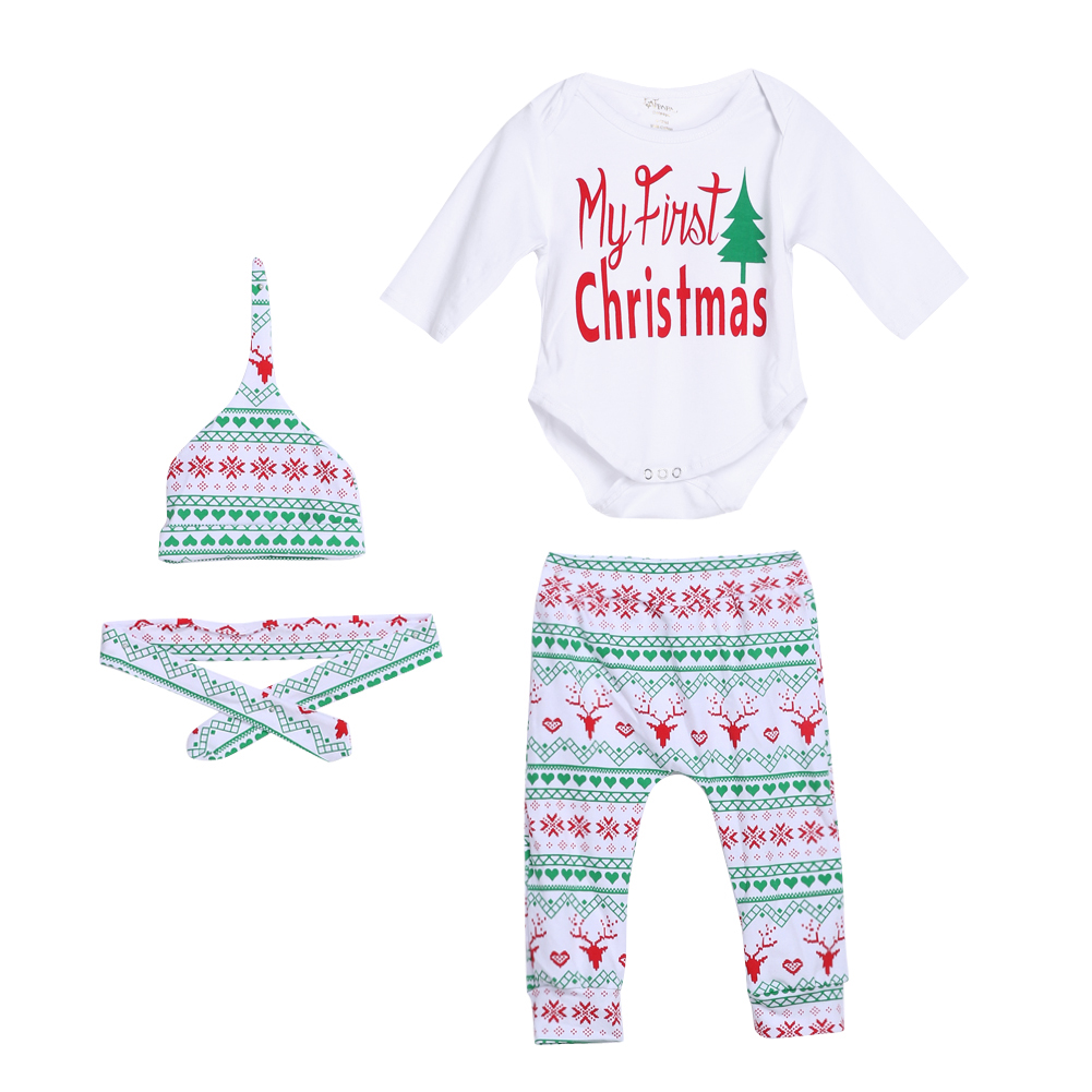 4pcs Baby Christmas Outfit Cotton Boy Girl Long Sheeve Romper Pants Leggings Hat Clothes Set New 2017 Kids Christmas Gift
