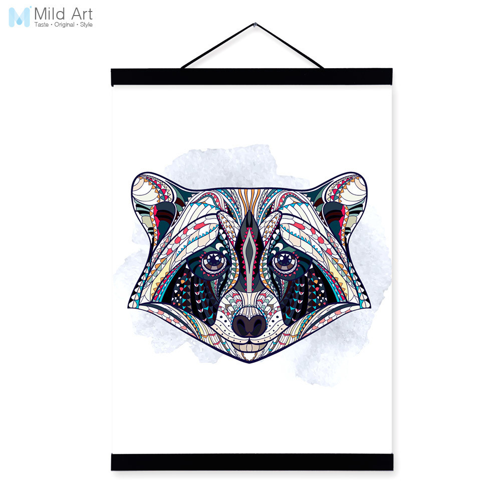 Modern Ancient <font><b>African</b></font> National Totem Animals Raccoon Head A4 Framed Canvas Painting Wall Art Prints Picture Poster <font><b>Home</b></font> <font><b>Decor</b></font>