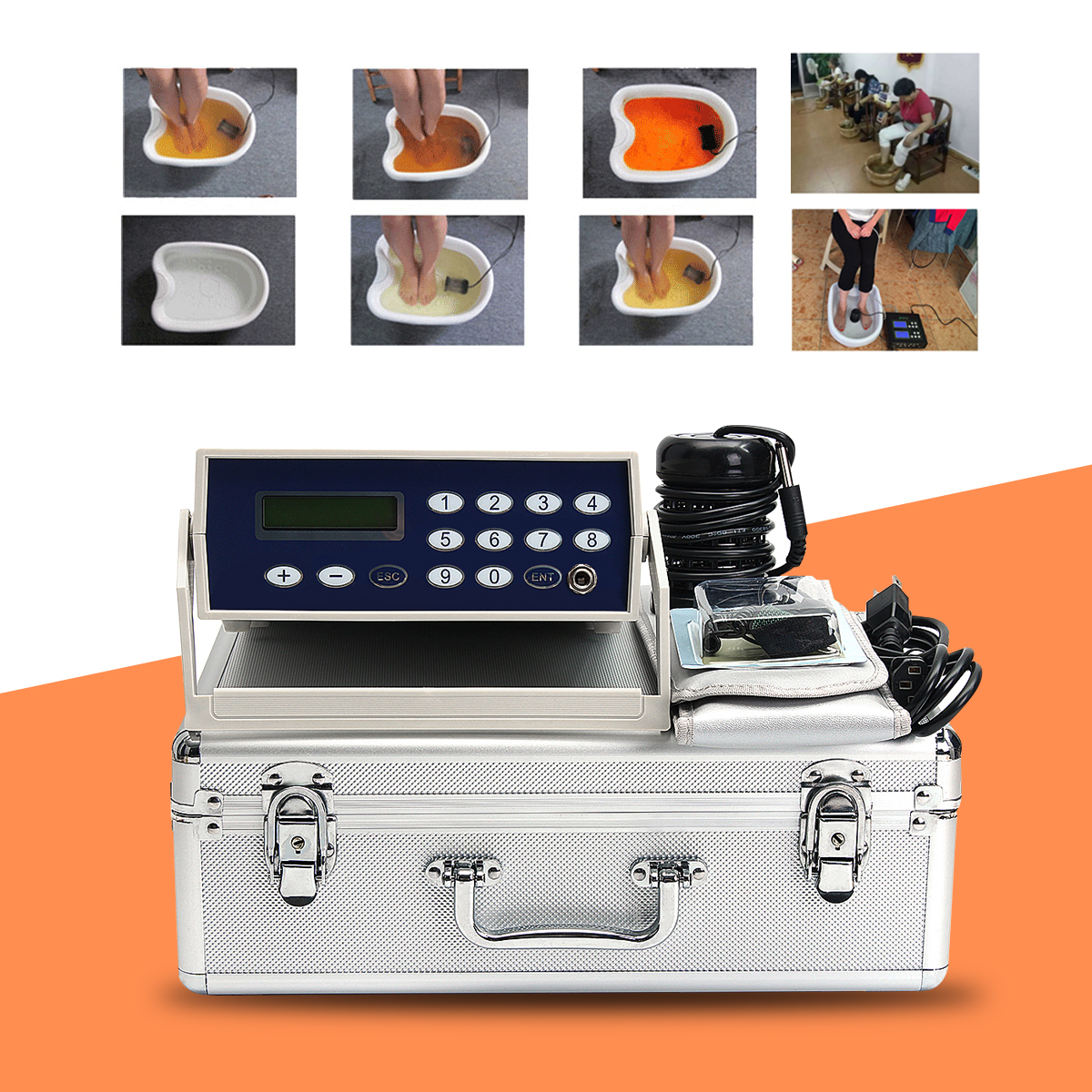цена на Detox foot care Machine Cell Ion Ionic Aqua Foot Bath SPA Cleanse Machine Fir Belt Box CAN foot bath massage pain relief machine