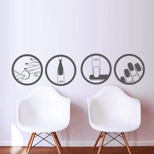 Fashion nail vinyl wall decal salon beauty design master polish manicure wall sticker nail shop - Stickers salon design ...