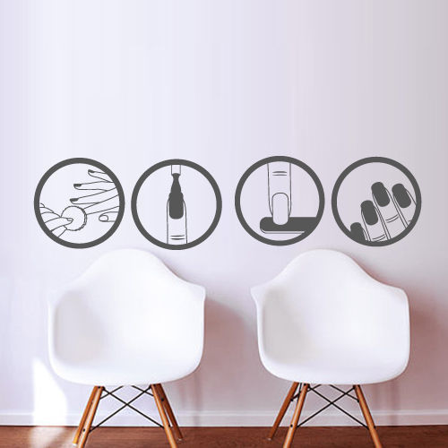 Buy fashion nail vinyl wall decal salon for Stickers salon design