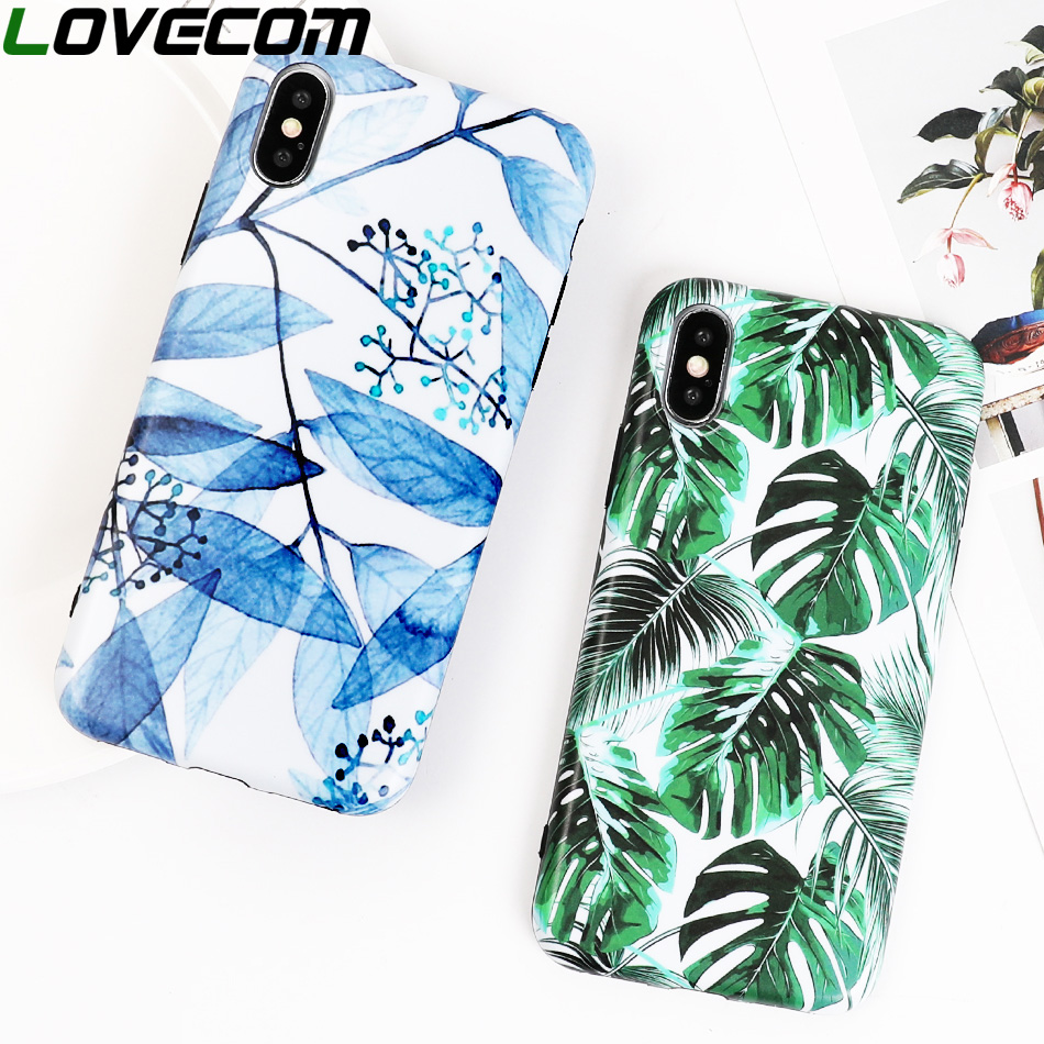 LOVECOM Case For IPhone XS Max XR 6 6S 7 8 Plus X Banana Leaves Full Body IMD Soft Protector Phone Back Cover Case Shell Coque