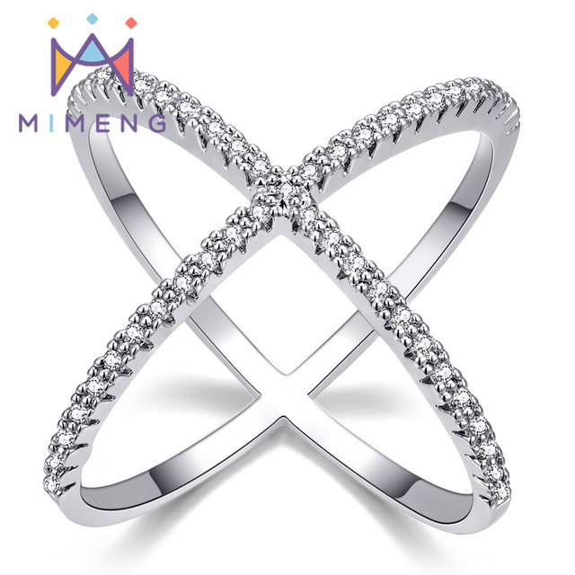 X shape Cross Ring New Design Ring for Women Filled with Zirconia Newest Design