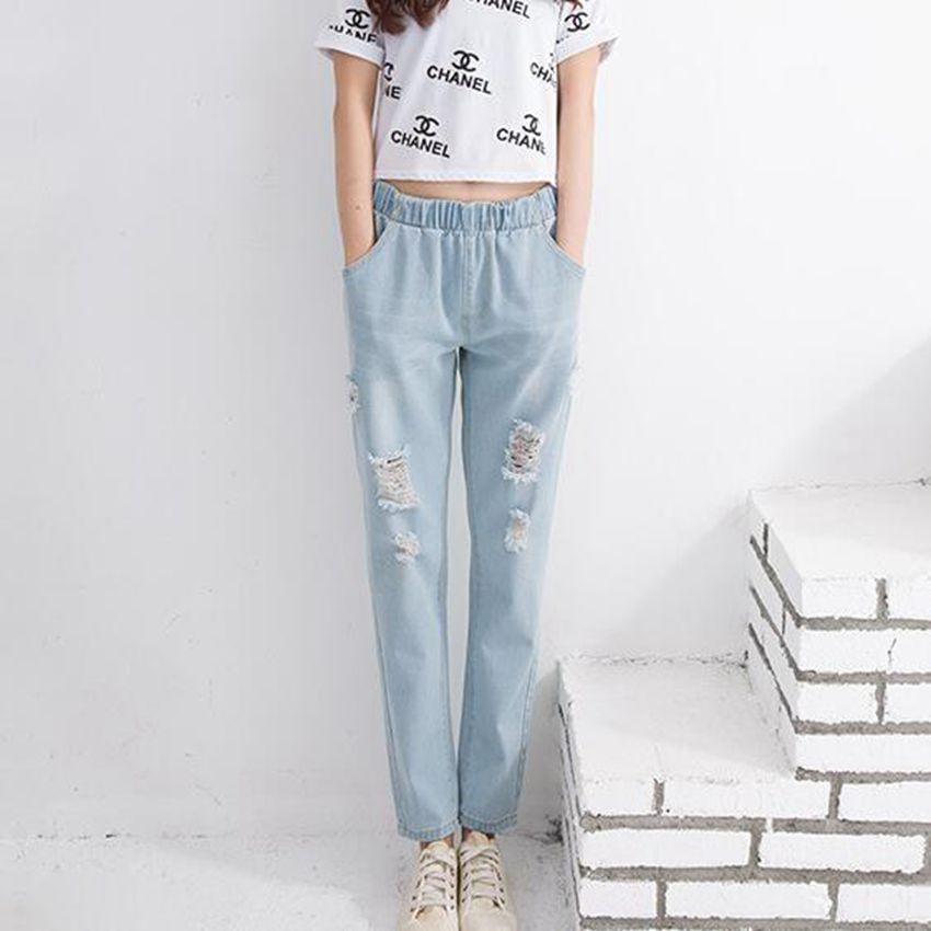 #2018 Elastic waist Harem jeans women Fashion Pantalon femme Women jeans Ripped jeans for women Ankle-length Denim Distressed