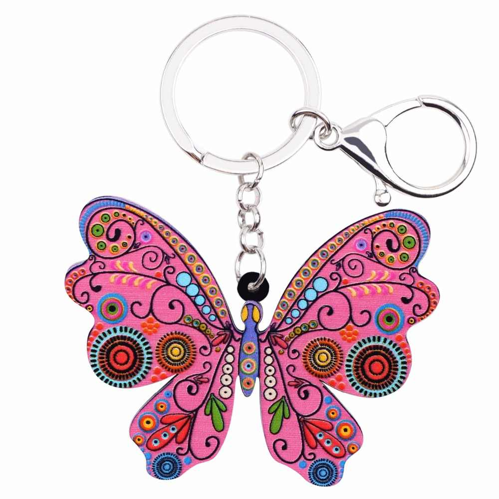 Bonsny акриловые аниме мультфильм бабочка цепочки кольца для ключей для женщин Девушка Сумка кошелек автомобиль Сумочка Кошелек талисманы элегантный подарок новизны