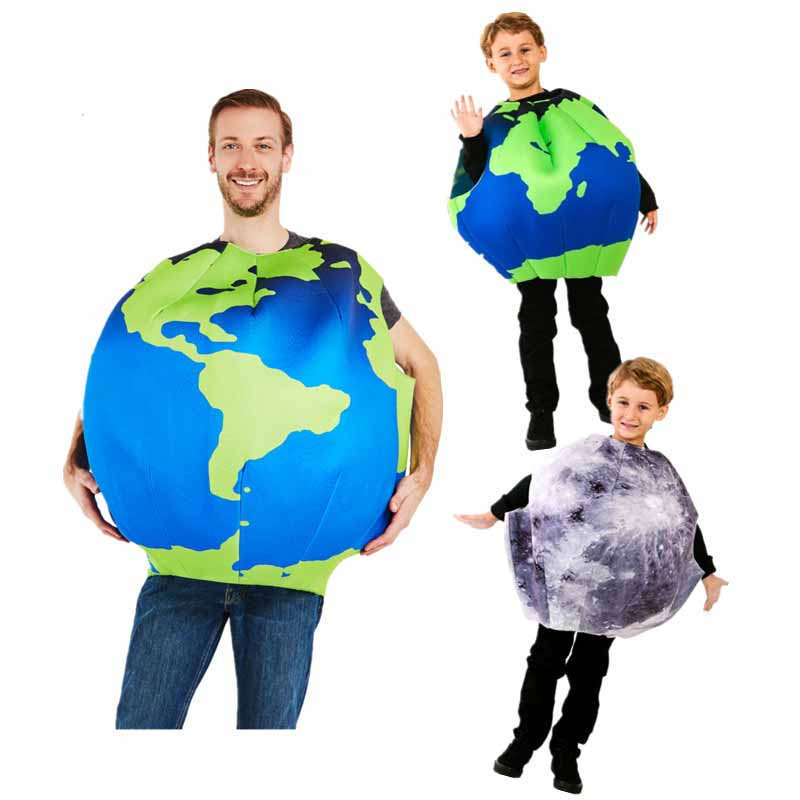 Halloween cosplay party Adult kid the Earth the Moon costume jumpsuit for boy and girl