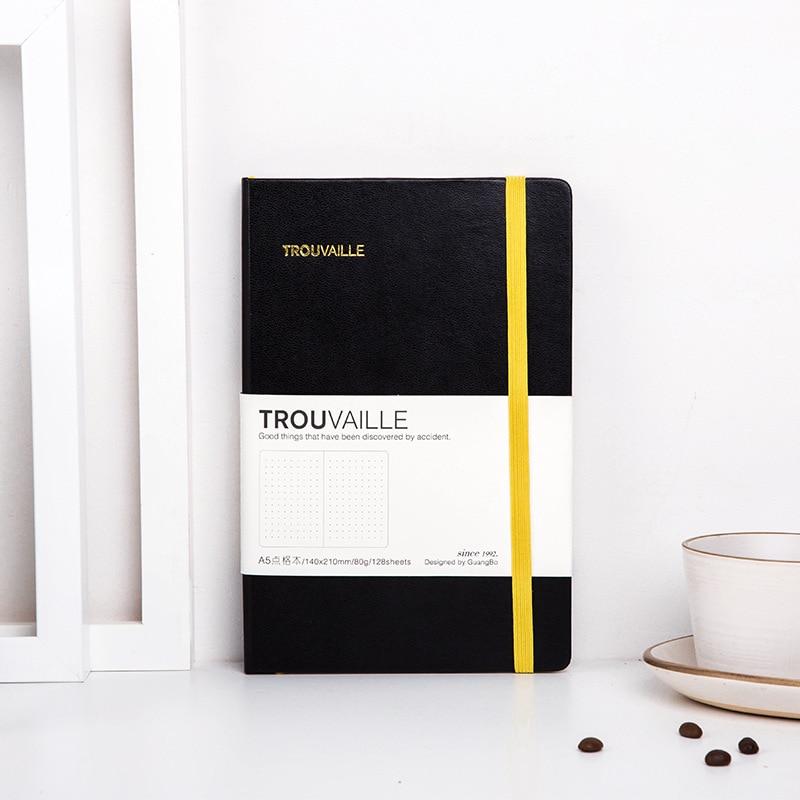 A5 hardcover elástico atadura pontilhada caderno diário escola caderno artigos de papelaria suprimentos 128 folhas grosso bala diário