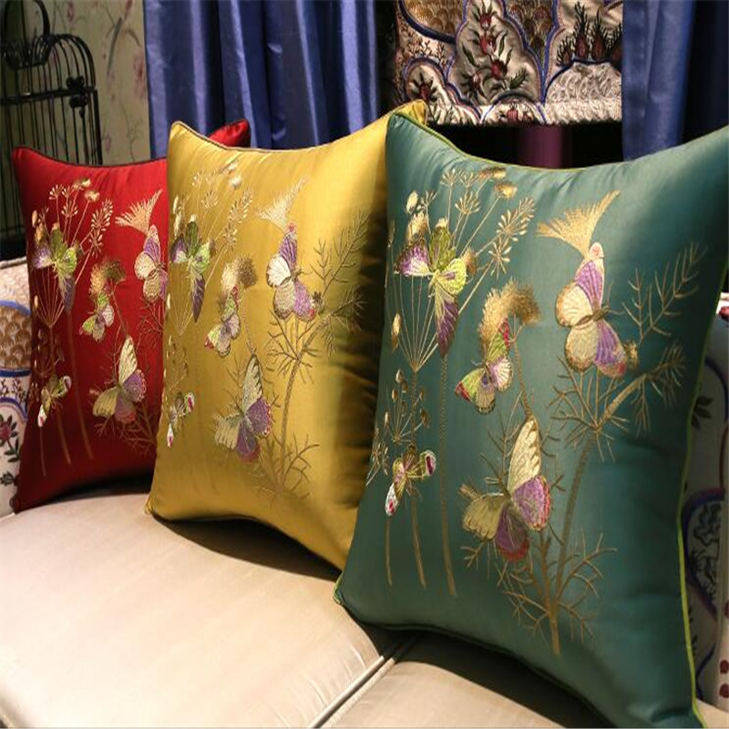free shipping classical butterfly throw <font><b>Pillow</b></font> with inner <font><b>50x50cm</b></font> <font><b>Pillow</b></font> embroidery sain cushion <font><b>pillow</b></font> chair <font><b>decorative</b></font> image