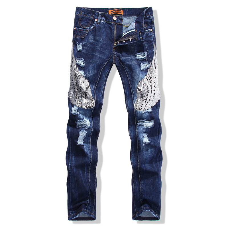 Ripped Jeans Brand New 2015 Men Designer Deans Patch Eagle American Handmade Pattern Destroyed Jeans Ripped Jeans 17gjsmt588 Jean Jeans Classicjeans Jeans Jeans Shop Aliexpress