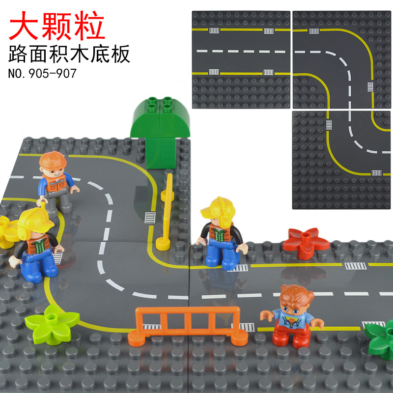 City Road Street Big Baseplate Straight Crossroad Curve T-Junction Building Blocks Parts For Big Size Bricks Duploes Base Plate