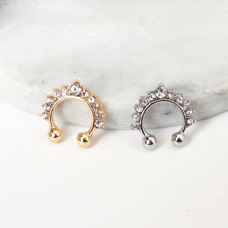 Обруч с кристаллами Кольцо в нос имитация женщин ювелирные изделия розовое золото серебро нос Имитация пирсинга пирсинг, Септум Вешалка ювелирные изделия нос шпилька