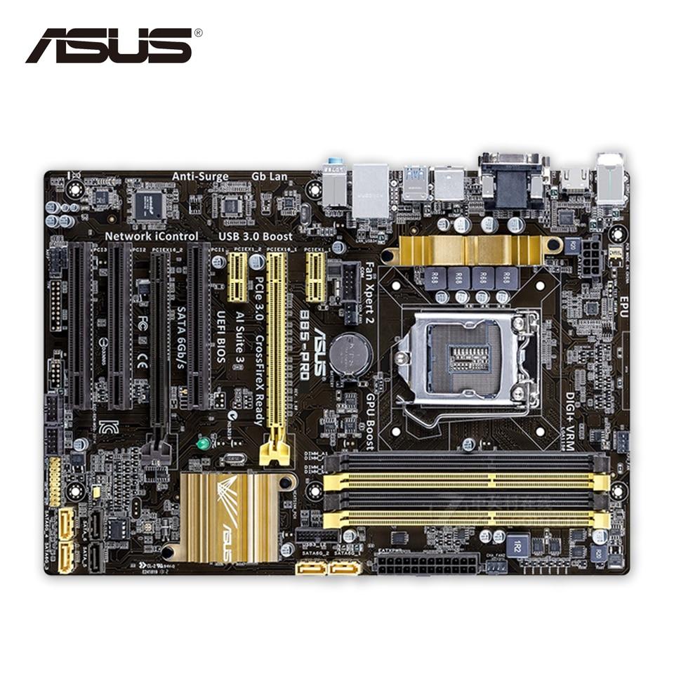 Asus B85-PRO Original Used Desktop Motherboard B85 Socket LGA 1150 i7 i5 i3 DDR3 32G SATA3 USB3.0 ATX asus h87 plus deluxe board 1150 b85 motherboard