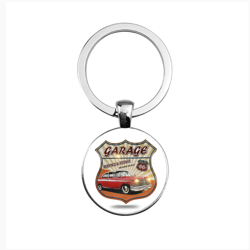 Suteyi New Route Us 66 Keychain Glass Dome Jewelry Silver Historic
