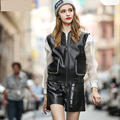 [XITAO] 2016 European American street tide women's black PU leather vest vest hot style elastic ms ma3 jia3 wholesale, MF-026