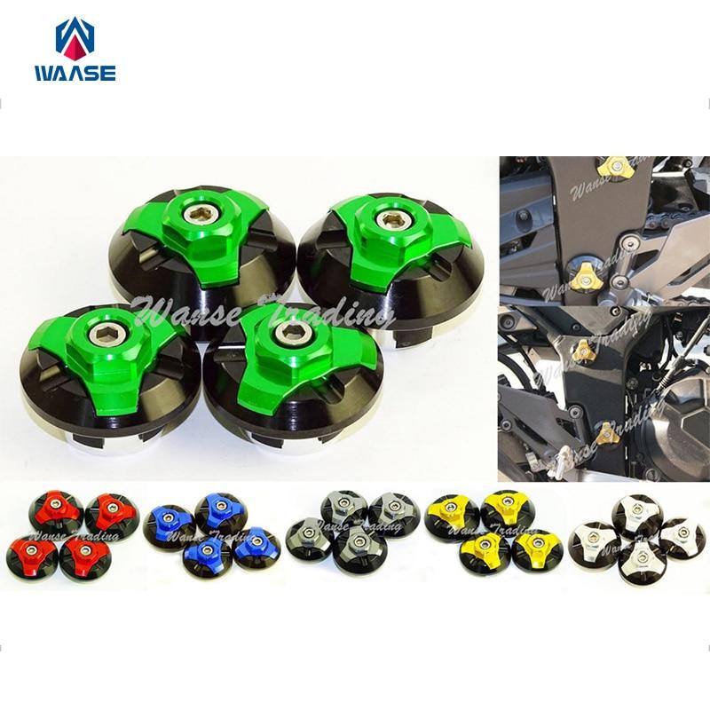 waase Motorcycle 4pcs CNC Frame Hole Cap Cover Plug Low & Up For Kawasaki Ninja 250R 2008 2009 2010 2011 2012