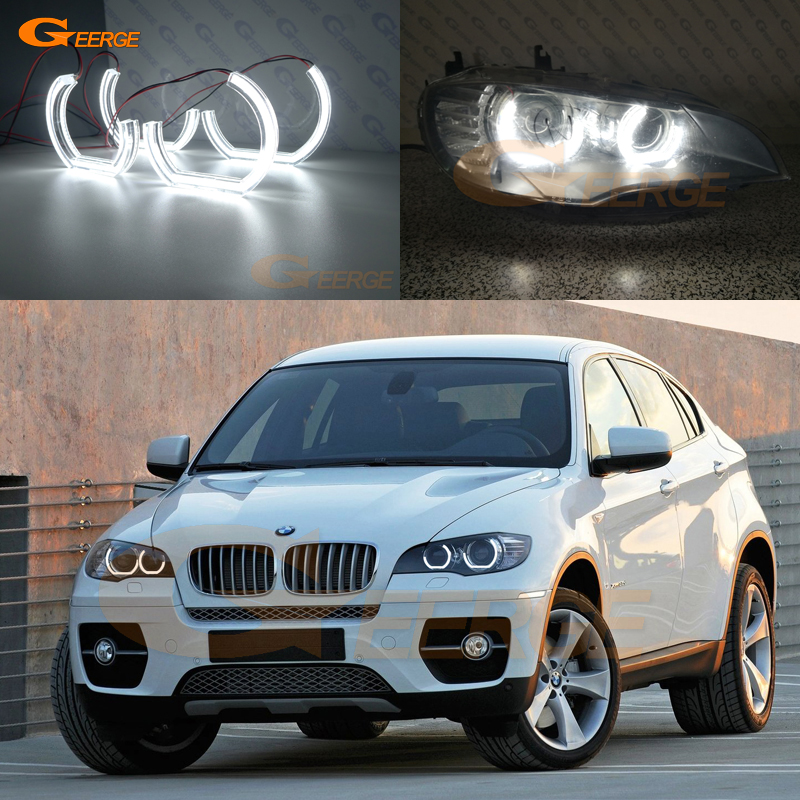 For BMW X6 E71 E72 X6M E70 X5M 2008-2014 Xenon headlight Excellent DTM M4 Style Ultra bright led Angel Eyes kit carbon fiber car rear bumper extension lip spoiler diffuser for bmw x6 e71 e72 2008 2014 xdrive 35i 50i black frp